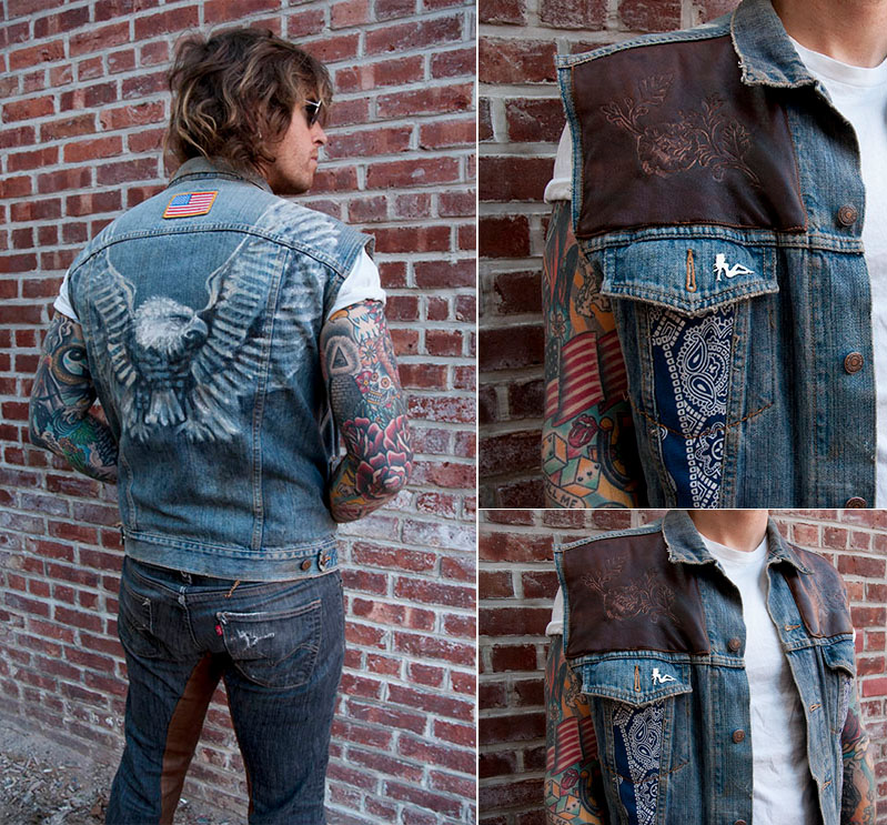 burnmethod, rock, denim, vest, eagle, hand painted, american flag, americana, classic, blue jeans, leather, paisley, bandana, flowers, burn method, python, snake, skin, rock, roll, rose, dagger, dice, tie dye