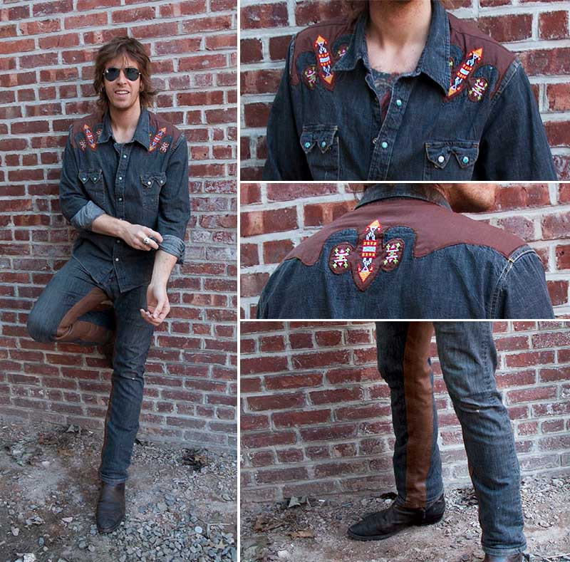 burnmethod, denim, brown, leather, western, classes, embroidered, button down, shirt, rock, vintage, riding pants, burn method
