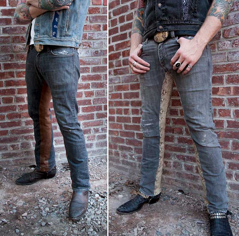 burnmethod, denim, brown, leather, western, classes, embroidered, button down, shirt, rock, vintage, burn method, snake skin, python, rattlesnae, stage, patch, jeans