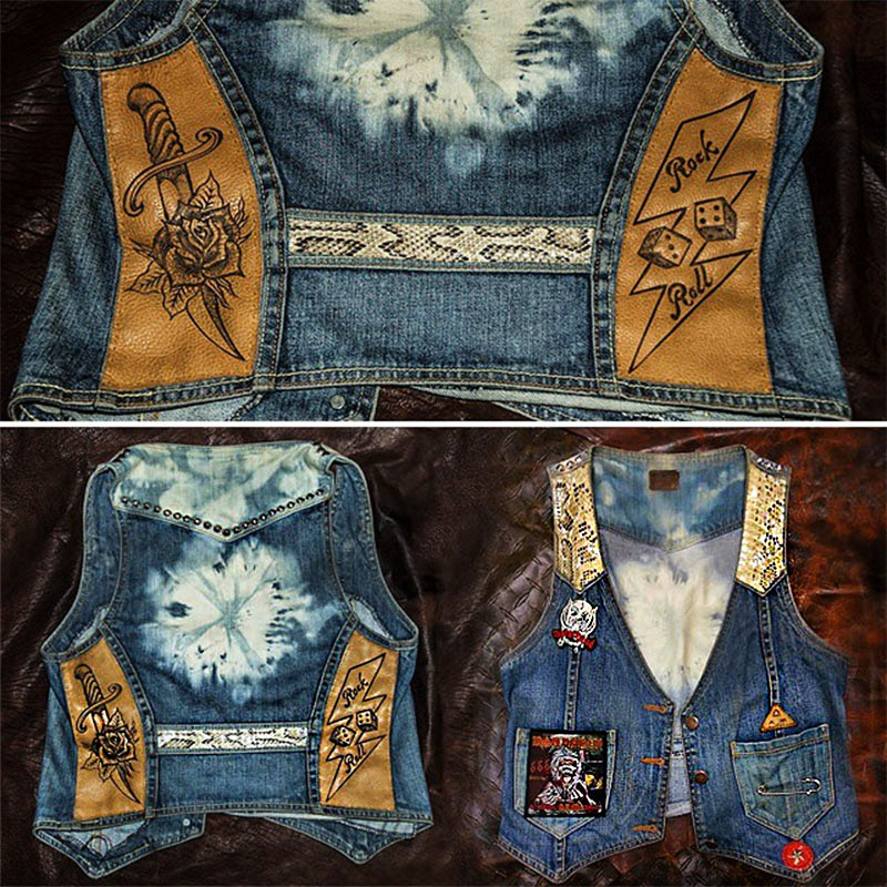 burnmethod, rock, denim, vest, eagle, hand painted, american flag, americana, classic, blue jeans, leather, paisley, bandana, flowers, burn method, python, snake, skin, rock, roll, rose, dagger, dice, tie dye, iron maiden, motorhead, lonestar