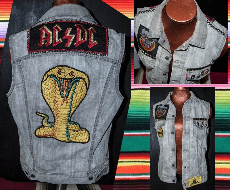 burnmethod, studded, gray, vest, acdc, cobra, snake, gnr, judas priest
