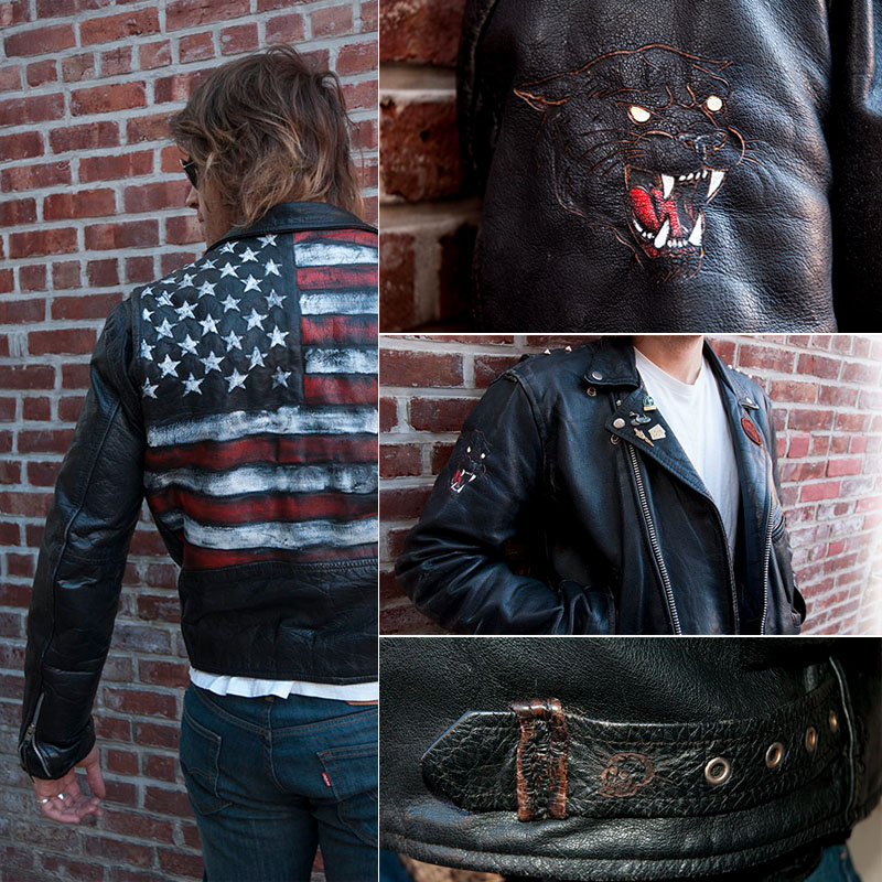 burnmethod, biker, rock, motorcycle jacket, american flag, flag, usa, red white blue, stars, stripes, black, leather, panther, tattoo, burn method