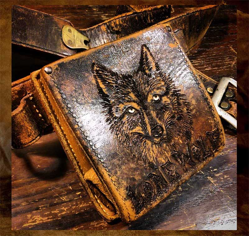 lone, wolf, pyrography, leather, burnmethod, burn, method, huntng, ammo, belt, bag
