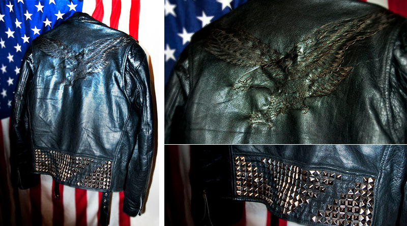 burnmethod, biker, rock, motorcycle jacket, eagle, black, leather, punk, rock, studded, studs, burn method