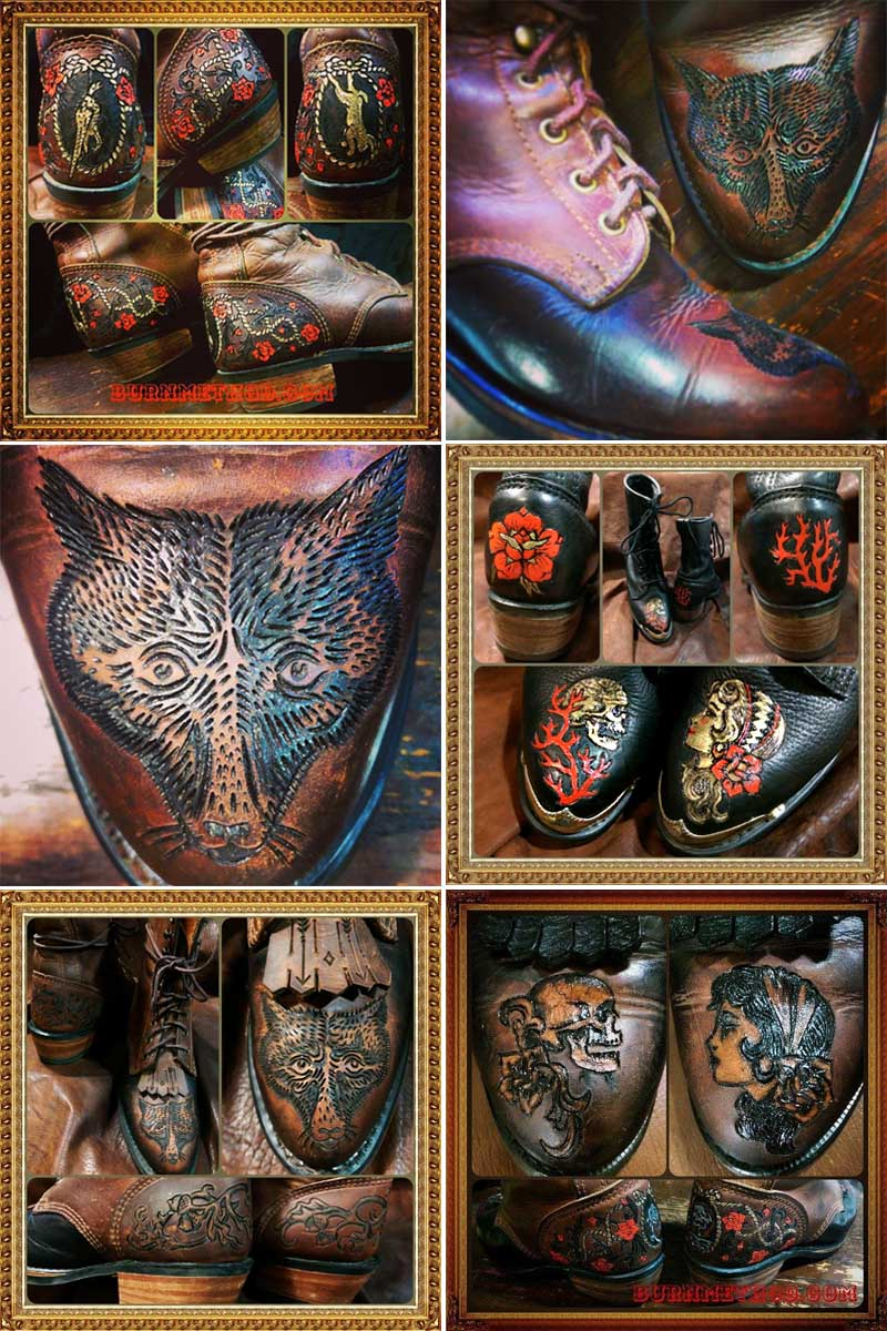 burnmethod, custom, art, tattoo, leather, durango, boots, belts, belt, biker