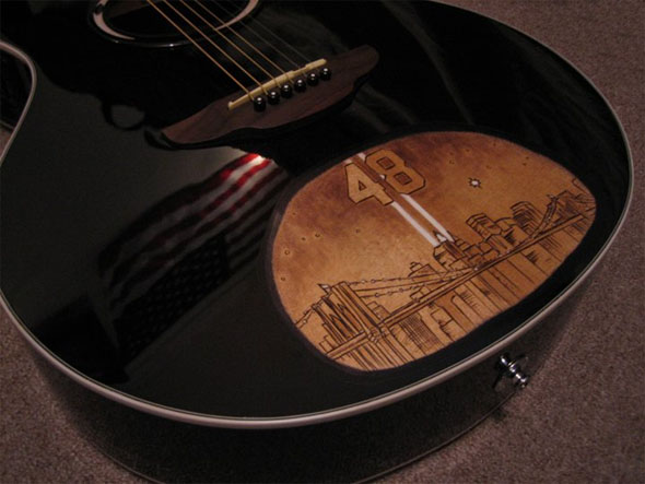 acoustic, 9-11, brooklyn bridge, picture window, pyrography, new york city, guitar, personalized, wood burning
