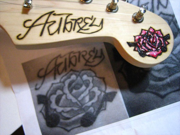 headstock, tattoo, copy, pink, enamel, headstock, embellishment, wood burning, pyrography, burnmethod, guitar, personalized