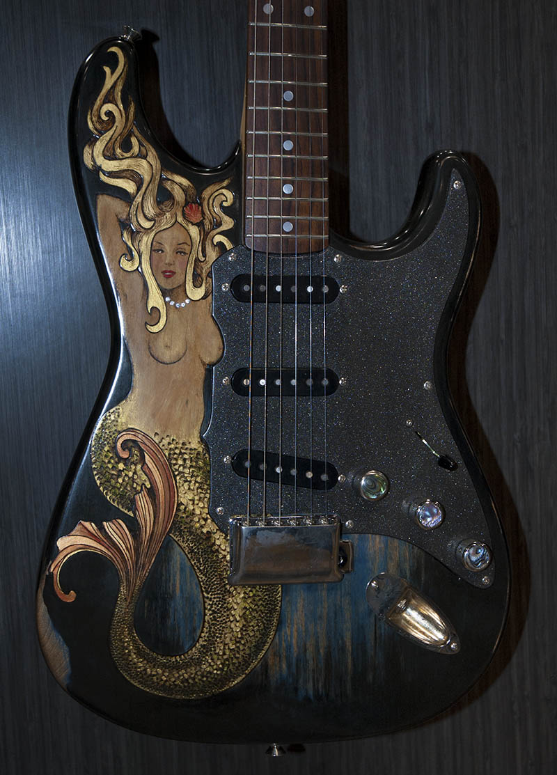 burnmethod, mermaid, ocean, strat, gold, black, blue, green, swarovski crystals, guitar, custom