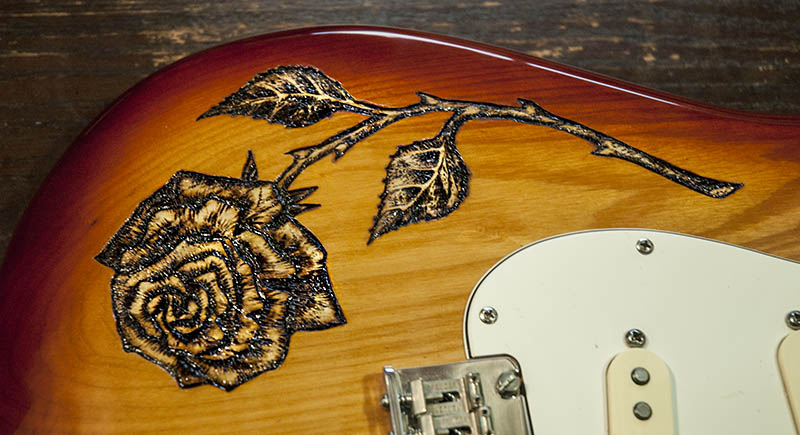 burnmethod, guitar, guitars, pyrography, custom, wood burning, engraved, rose, strat, fender, stratocaster
