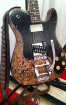 burnmethod, guitar, guitars, pyrography, custom, wood burning, engraved, refinish, tele, black rose, rose, paisley, bandana, bullet shell, shotgun
