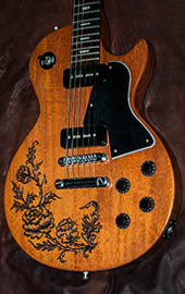 burnmethod, guitar, guitars, pyrography, custom, wood burning, engraved, Matthew Hendershot, End Men, rose, scrollwork, classic