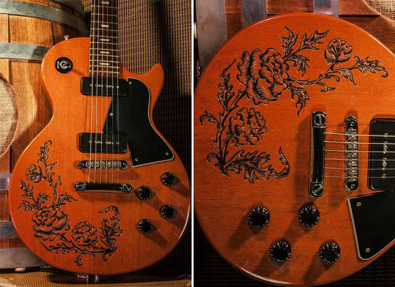 burnmethod, guitar, guitars, pyrography, custom, wood burning, engraved, Matthew Hendershot, End Men, rose, scrollwork, classic, end men, lust for tone, pickups, lust, tone, hendershot