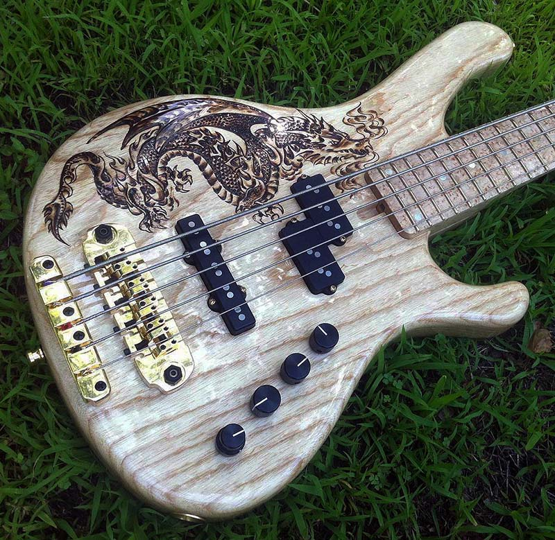 burnmethod, guitar, guitars, pyrography, custom, wood burning, engraved, luke sheridan, sheridan guitars, bass, dragon, Ric Lubell