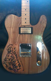 burnmethod, guitar, guitars, pyrography, custom, wood burning, engraved, refinish, tele, telecaster, dogwood, flower, nature, tree, branch, inscription, macushla