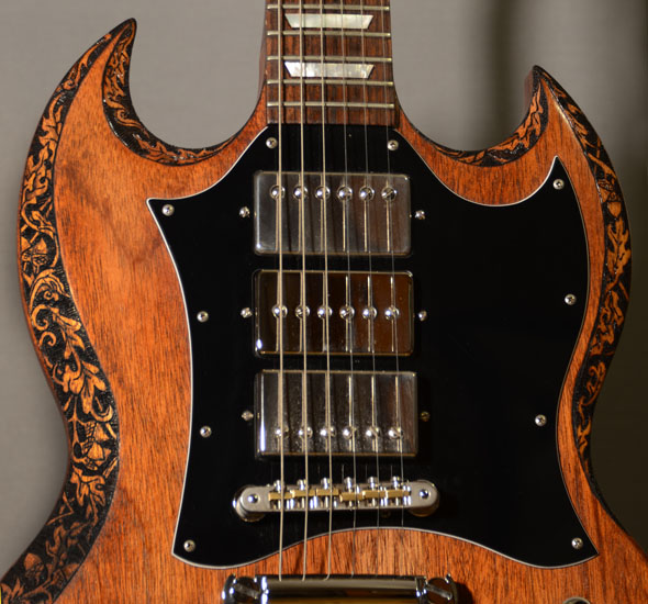 burnmethod, guitar, guitars, pyrography, custom, wood burning, engraved, refinish, sg, gibson, nature, acorn, baroque, scrollwork, binding, oak, leaf