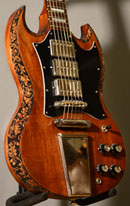 burnmethod, guitar, guitars, pyrography, custom, wood burning, engraved, refinish, sg, gibson, nature, acorn, baroque, scrollwork, binding