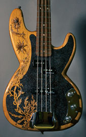 burnmethod, guitar, guitars, pyrography, custom, wood burning, engraved, refinish, bass, highlands, thistle, scottish