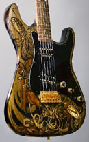 burnmethod, guitar, guitars, pyrography, custom, wood burning, engraved, refinish, strat, fantasy, snakecharmer, wizard, snake, python, smoke