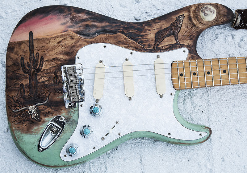 burnmethod, custom, refinish, strat, guitar, desert, sunset, howling, wolf, moon, cactus, cow skull, mountains