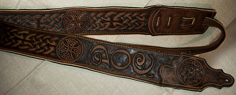 burnmethod, custom, guitar strap, brown, celtic, shamrock, cross, clover, braid, knotwork