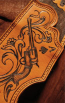 burnmethod, guitar, strap, pyrography, custom, wood burning, engraved, personalized, leather, outlaw, county, ace of spades, pistol, scrollwork