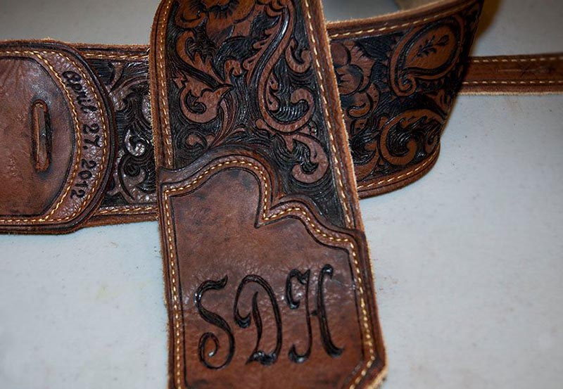 burnmethod, guitar strap, brown, leather, scrollwork, initials, date, inscription, texture