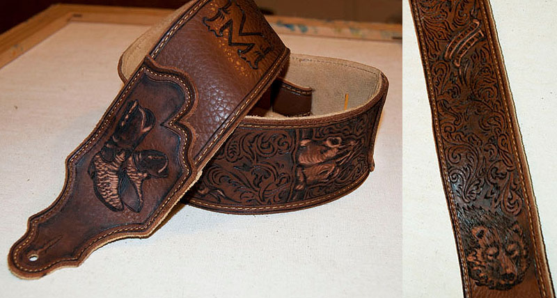 burnmethod, guitar, strap, pyrography, custom, wood burning, engraved, personalized, leather, outlaw, county, paisley, scrollwork, name, cowboy boots, cow skull