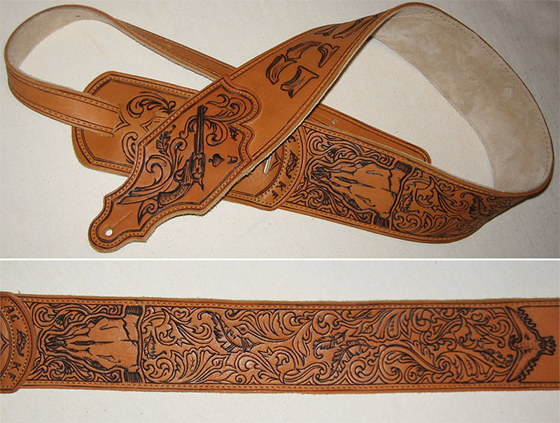 burnmethod, guitar, strap, pyrography, custom, wood burning, engraved, personalized, leather, outlaw, county, ace of spades, pistol, scrollwork, cow skull, skull, feathers, initials