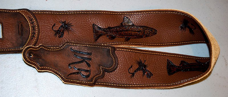 burnmethod, guitar, strap, pyrography, custom, wood burning, engraved, personalized, leather, hunting, vintage, brown, fishing, fly flishing, fly, trout, muskie, lures