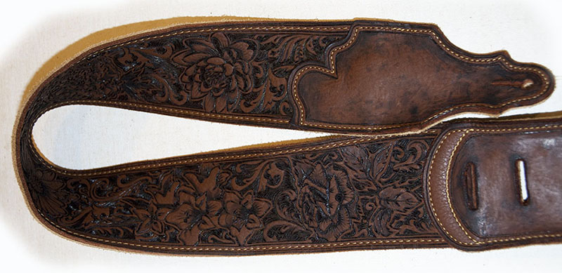 burnmethod, guitar, strap, pyrography, custom, wood burning, engraved, personalized, leather, vintage, brown, flowers, garden, intricate, ornate, scrollwork