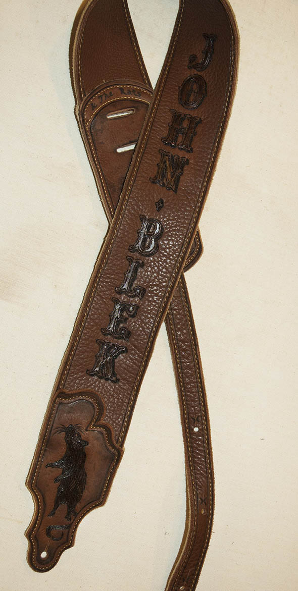 burnmethod, guitar, strap, pyrography, custom, wood burning, engraved, personalized, leather, vintage, brown, rat, fancy font, western, script