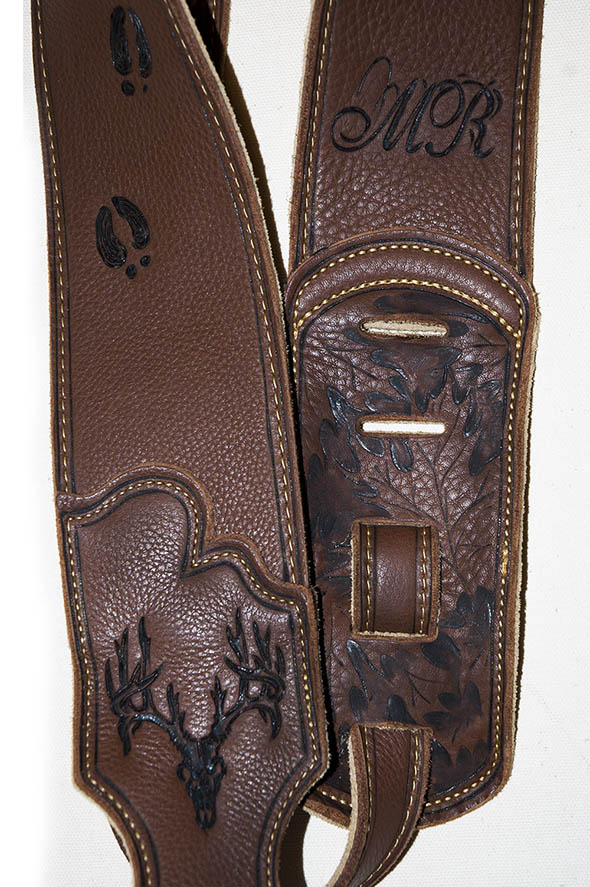 burnmethod, guitar, strap, pyrography, custom, wood burning, engraved, personalized, leather, hunting, camo, deer skull, skull, hoof print, vintage, brown, script