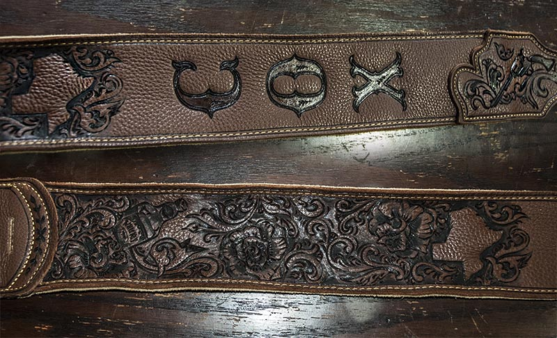 burnmethod, guitar, strap, pyrography, custom, wood burning, engraved, personalized, leather, outlaw, county, ace of spades, pistol, scrollwork, cow skull, skull, script, paisley, chef, knife, texas