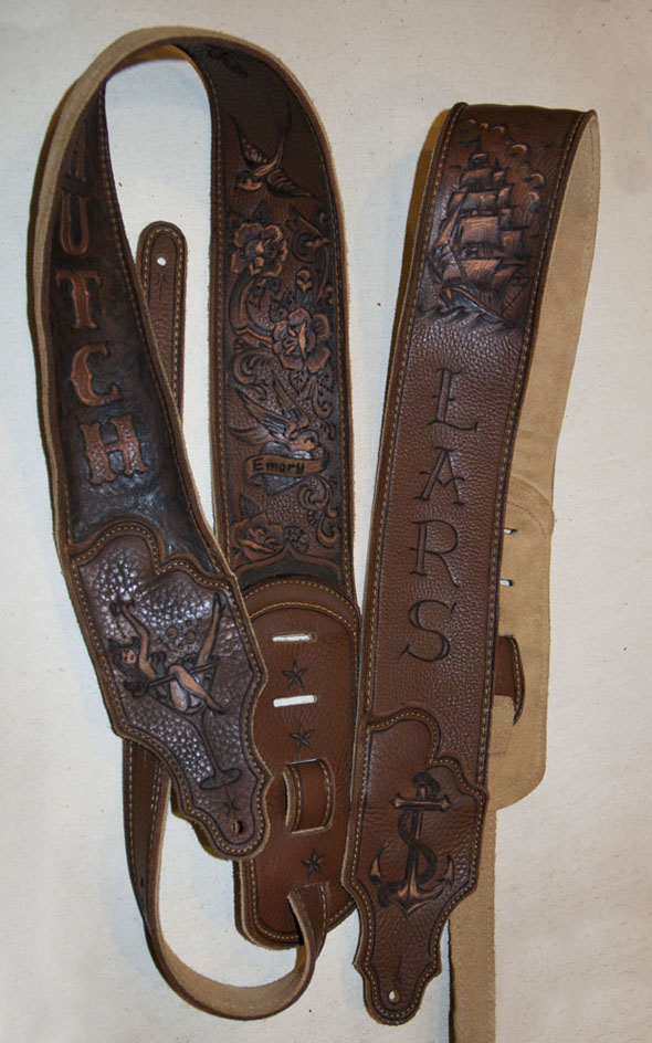 burnmethod, guitar, strap, pyrography, custom, wood burning, engraved, personalized, leather, brown, sailor jerry, tattoo, paisley, pistol, martini, anchor, roses, sparrow, ship