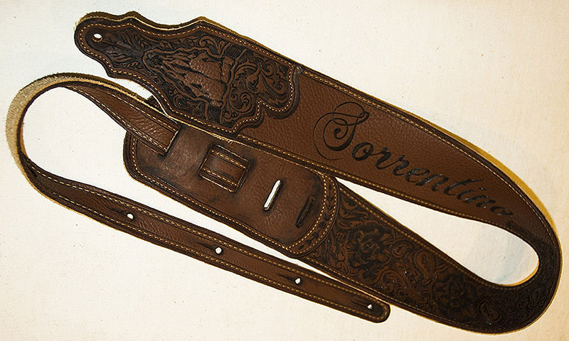 burnmethod, guitar, strap, pyrography, custom, wood burning, engraved, personalized, leather, outlaw, county, ace of spades, pistol, scrollwork, cow skull, skull, script, paisley