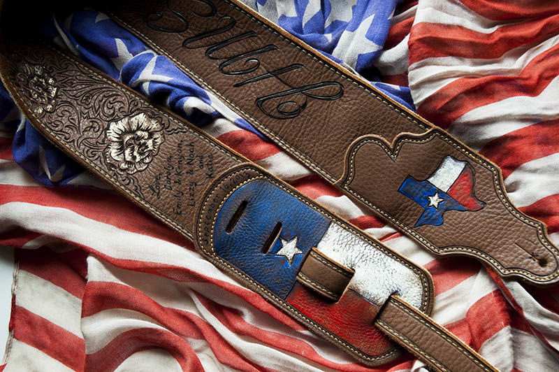 burnmethod, custom, guitar strap, texas, flag, lone star,yellow rose, initials, state, america, personalized, guitar