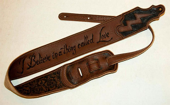 burnmethod, guitar, strap, pyrography, custom, wood burning, engraved, personalized, leather, gift, fan art, i believe in a thing called love, the darkness, lyrics, lighting bolt, roses